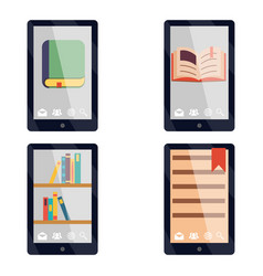 e-book reader e-reader flat icons and symbols set vector image vector image
