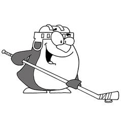 Hockey penguin cartoon vector image vector image