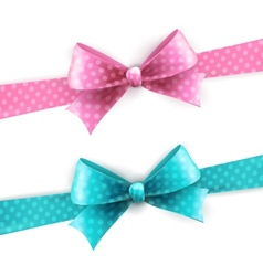 isolated blue and pink polka dots bow vector image vector image