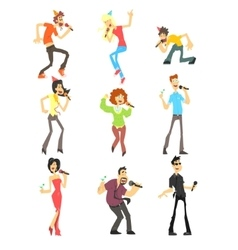 People Singing Karaoke Set vector image