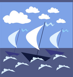sail the high seas ships in a stormy sea vector image