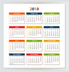 wall calendar for 2018 from sunday to saturday vector image