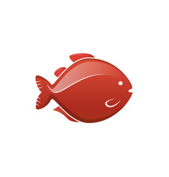 fish icon label vector image vector image