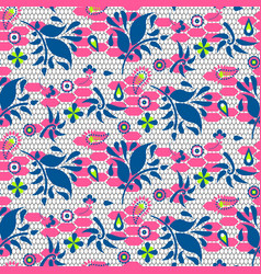 floral lace blue and pink seamless pattern vector image vector image