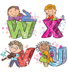 Funny alphabet with kids VWXU vector image vector image
