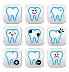 Tooth teeth icons set in color vector image vector image