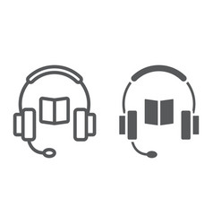 book with headphones line and glyph icon vector image vector image