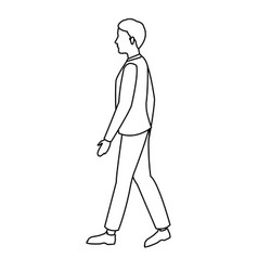 character young man walking outline vector image