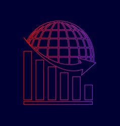declining graph with earth line icon with vector image vector image