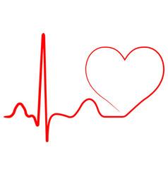 hospital heart logo with pulse heart beat icon vector image