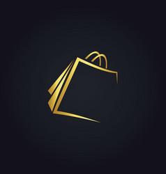shopping bag gold logo vector image vector image