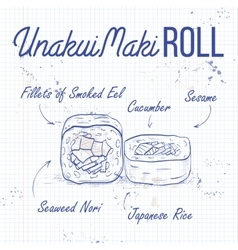 UnakuiMaki roll recipe on a notebook page vector image vector image