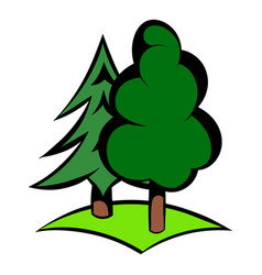 green forest icon icon cartoon vector image