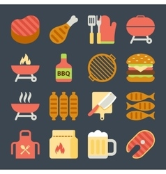 grill and bbq flat icons vector image