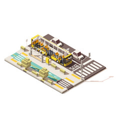 isometric low poly bus on the bus lane vector image