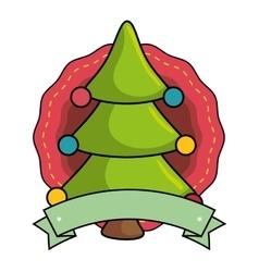 merry christmas tree celebration vector image
