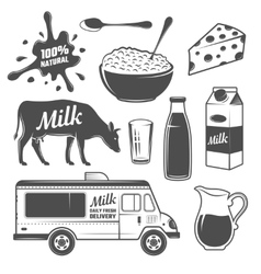 Milk Monochrome Elements Set vector image