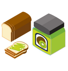 3d design for bread and kiwi jam vector image