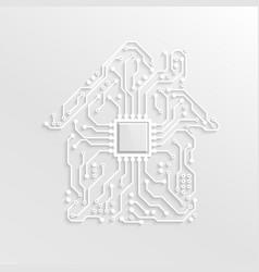 3d paper smart home concept circuit house vector image