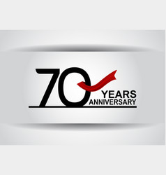 70 years anniversary design with red ribbon vector