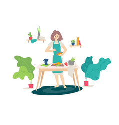 A girl in an apron cooking in kitchen flat vector