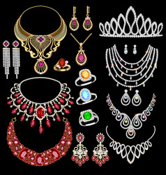 A jewelry set with a chain with a pendant vector