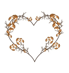 Abstract Dry Leaves in A Heart Shape vector image