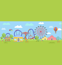 Amusement park in flat colorful style vector