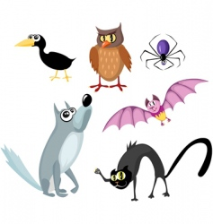 animals Halloween set vector image