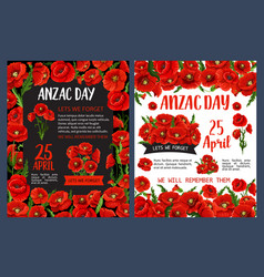 Anzac remembrance day poster with poppy flower vector