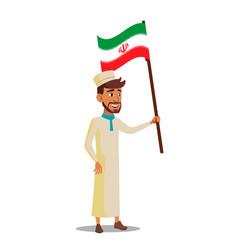 arab boy holds flag of iran flat cartoon vector image