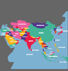 Asia map with the name of the countries vector