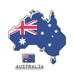 australia map and flag modern simple line vector image