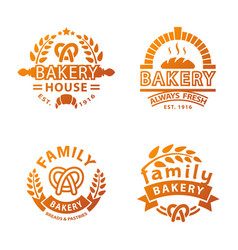 Bakery gold badge icon fashion modern style wheat vector