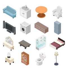 bathroom isometric furniture set toilet sink vector image