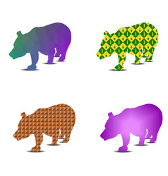 Bear silhouette pattern a set of four pieces vector