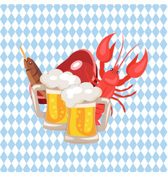Beer and snacks on checkered vector