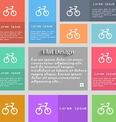 Bicycle icon sign Set of multicolored buttons vector image