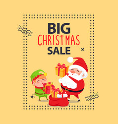 Big christmas sale poster with santa claus and elf vector