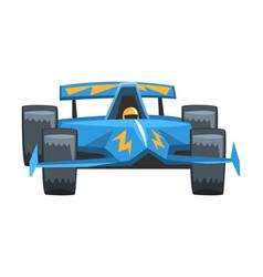 blue fast motor racing car front view cartoon vector image