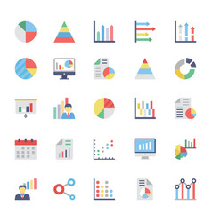 Business charts and diagrams colored icons 1 vector
