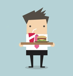 Businessman carrying a tray of food vector