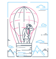 Businessman in a balloon - line design style vector