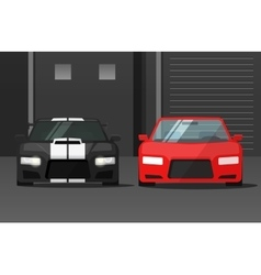 Cars front view in dark street sport expensive vector image