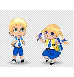 cartoon school girl and boy wearing uniform with vector image