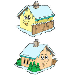 Cartoon winter houses vector