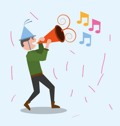 Cheerful man celebration party music vector