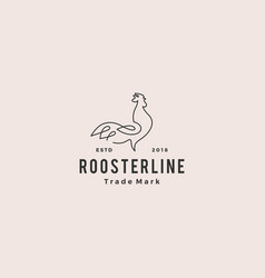 continuous line rooster logo hipster retro vector image