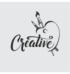 Creative Calligraphic Poster with Palette Brush vector