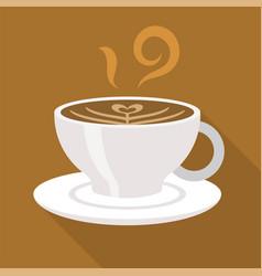 Cup of coffee cappuccino latte art flat design vector